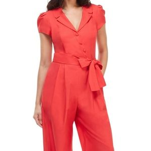 Gal Meets Glam Camille Cotton Jumpsuit in Red